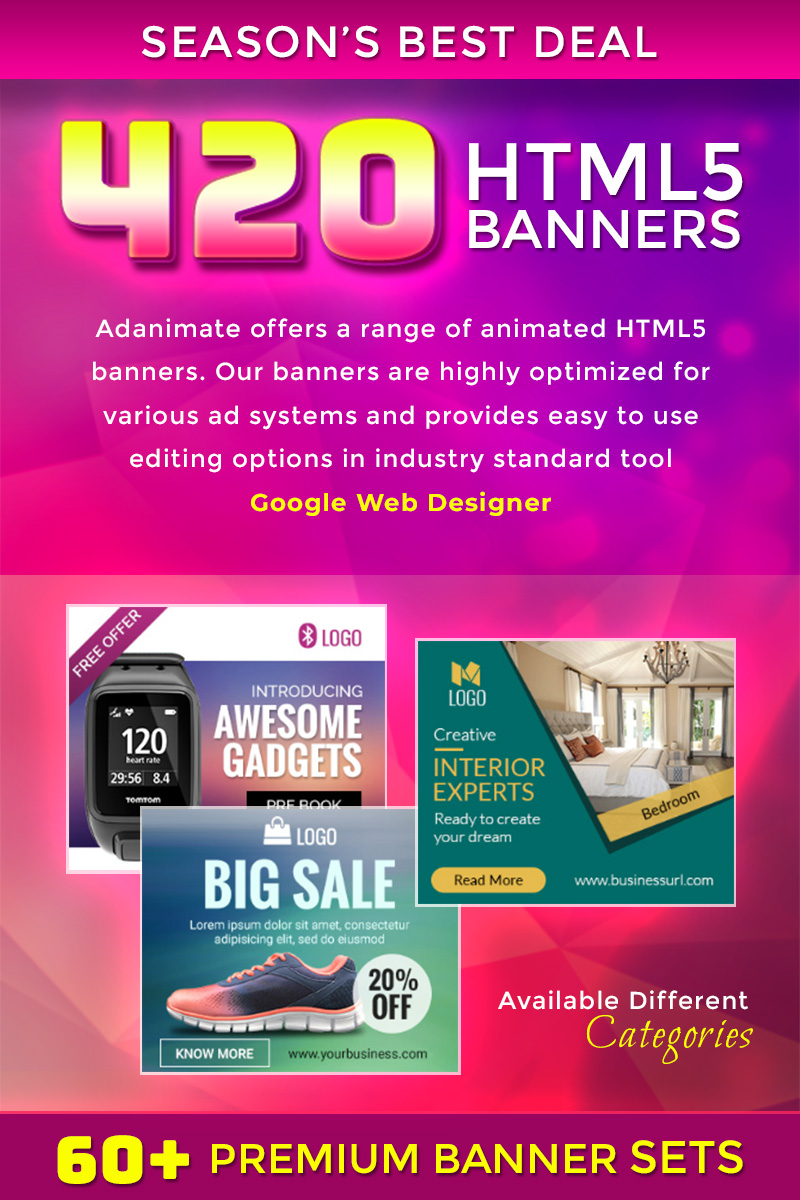 "Animated Banner ""Premium Banner Bundle - 420 Animated HTML5 Banner"" #74377"