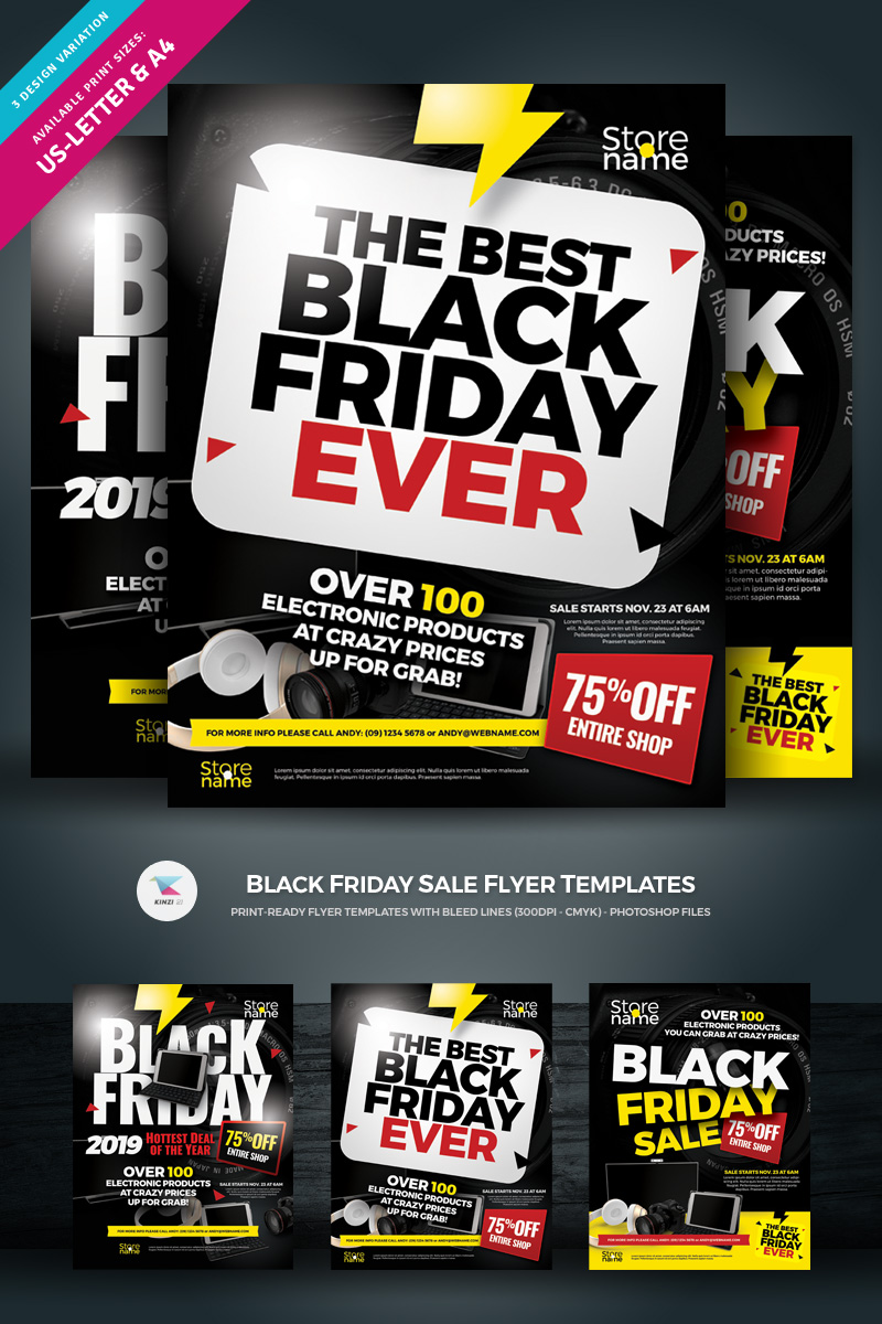 black friday sale flyer corporate identity template 74347