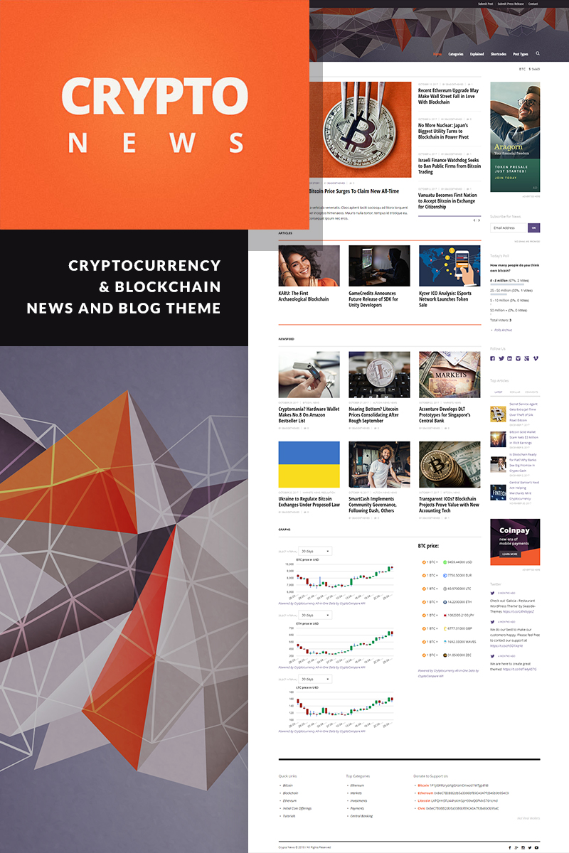 """Crypto News - Cryptocurrency & Bitcoin"" Responsive WordPress thema №74341"