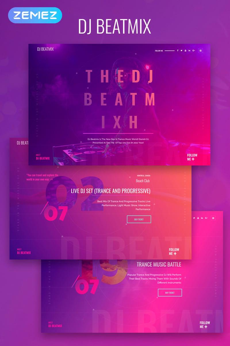 DJ Beatmix - Personal Page Elementor Tema WordPress №74357