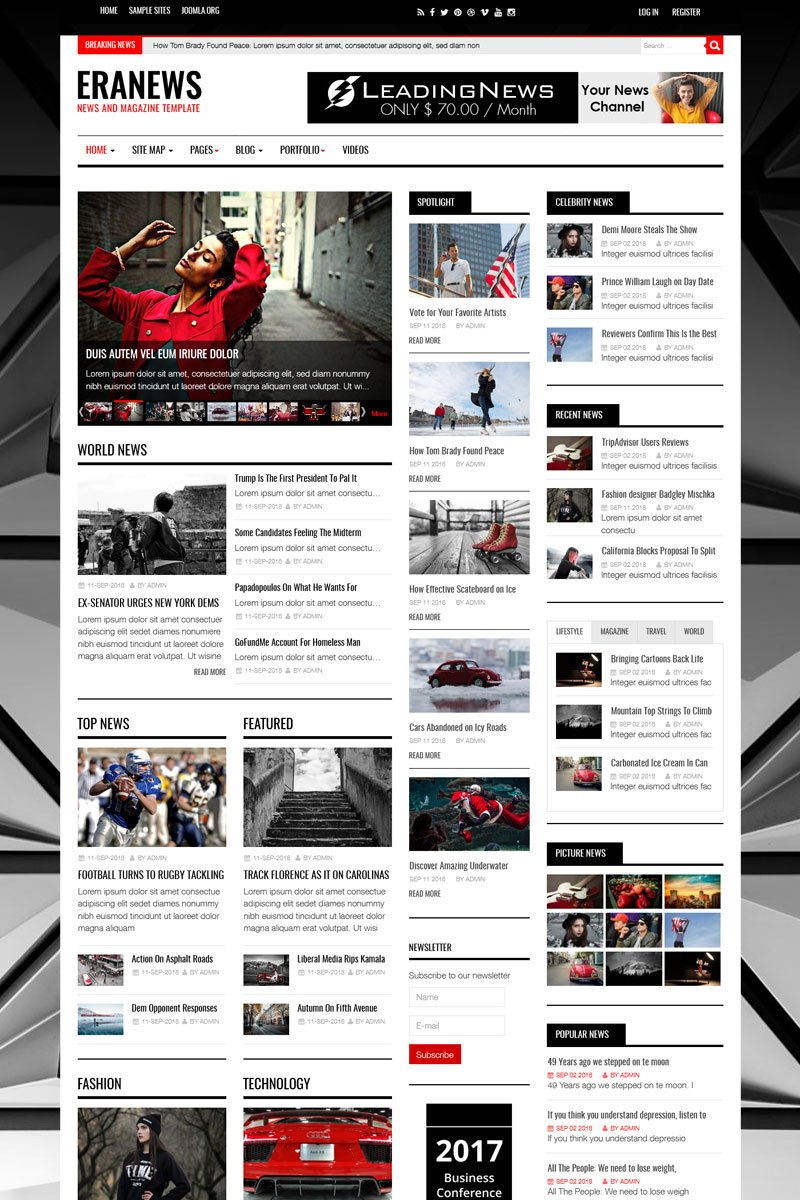 Eranews News and Magazine Template Joomla №74344