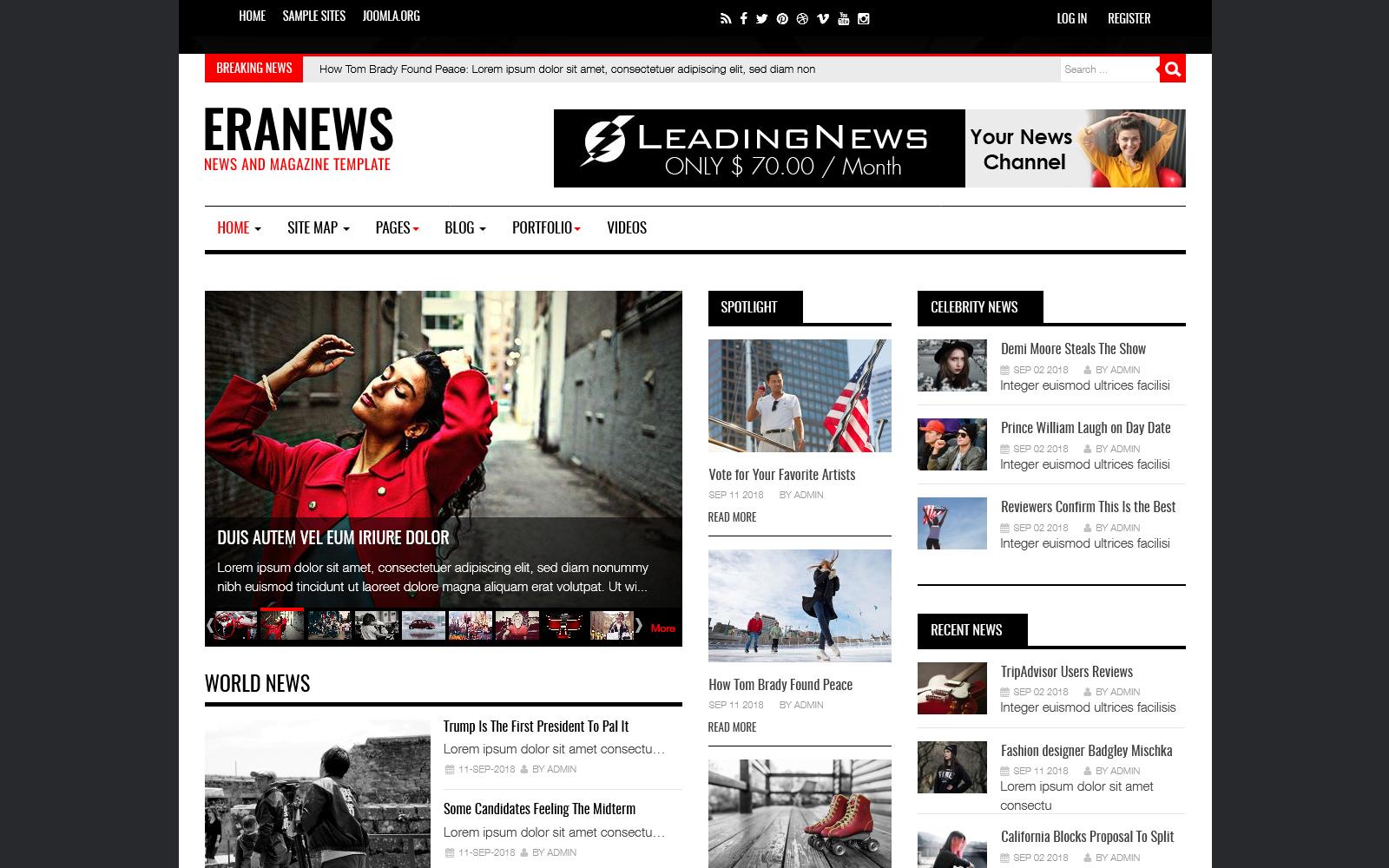 """Eranews News and Magazine"" thème Joomla adaptatif #74344"