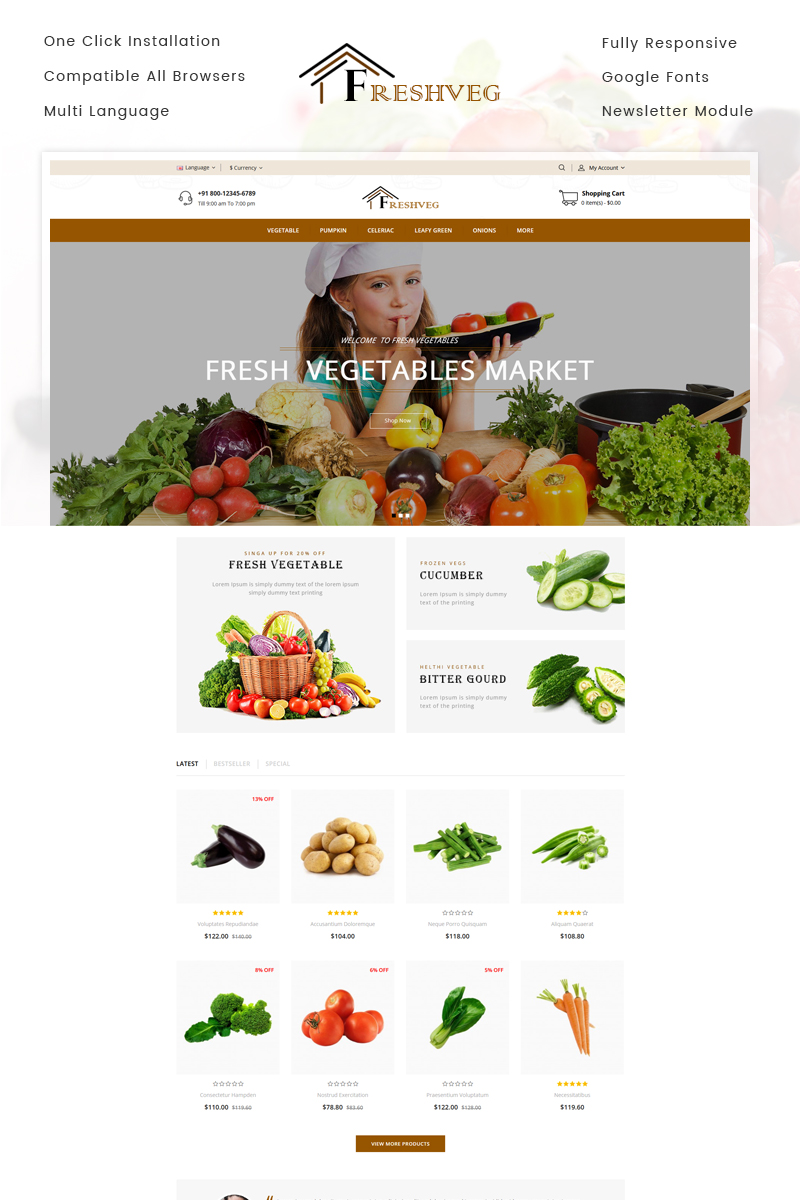 """FreshVeg - Vegetable Store"" 响应式OpenCart模板 #74329"