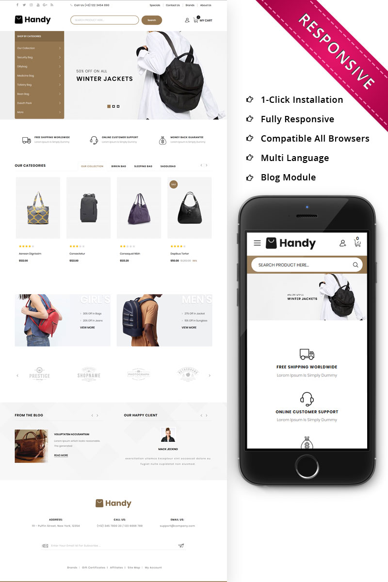 Handy Leather Market Responsive OpenCart Template