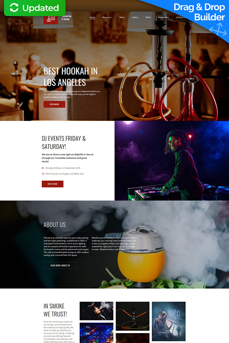 Hookah Bar & Lounge Templates Moto CMS 3 №74314