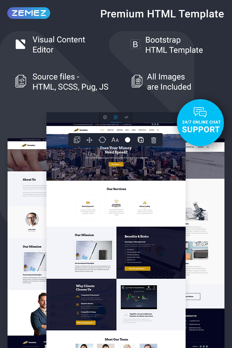 """""""Investex - Investment Ready-to-Use"""" Responsive Website template №74363"""