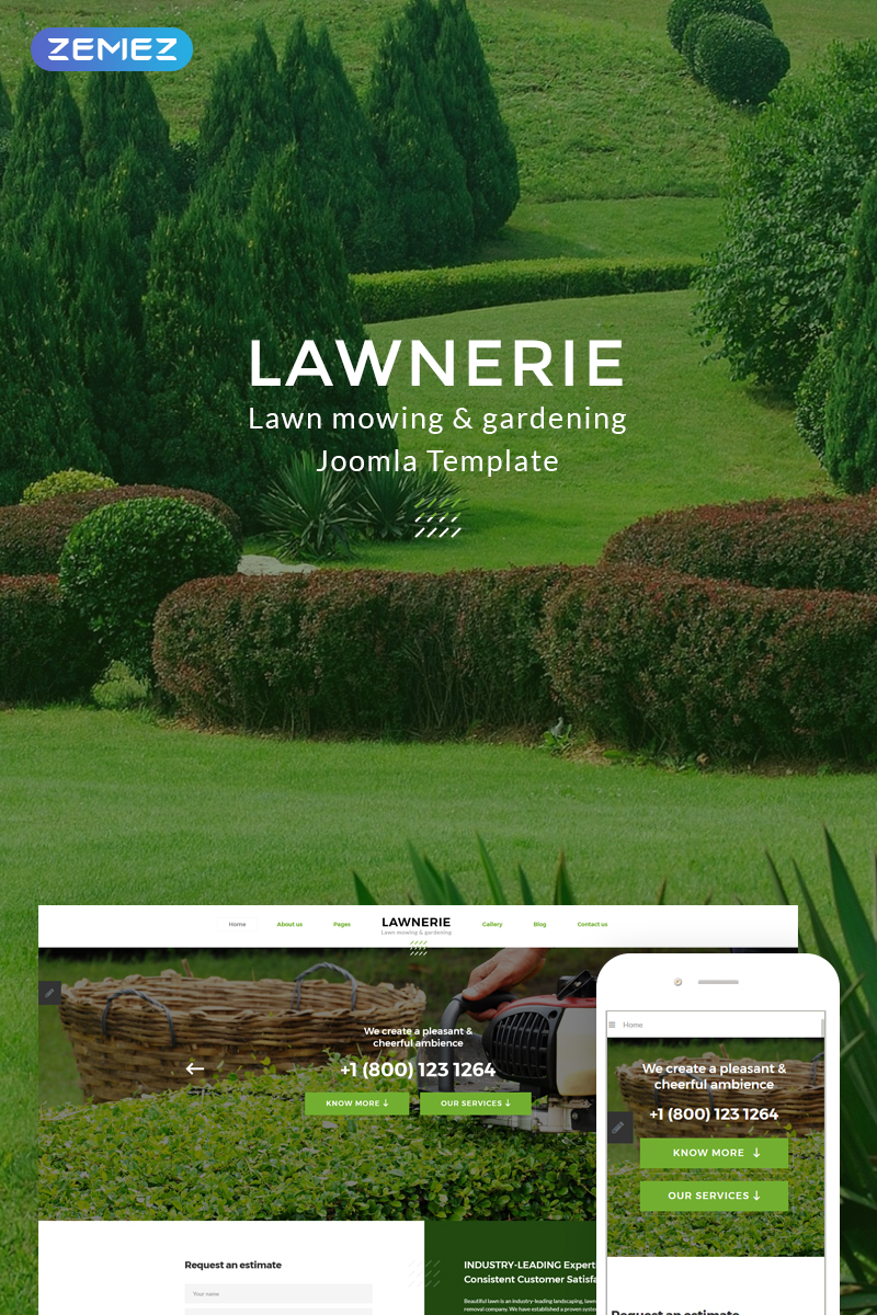 """Lawnerie - Landscape Design"" 响应式Joomla模板 #74378"