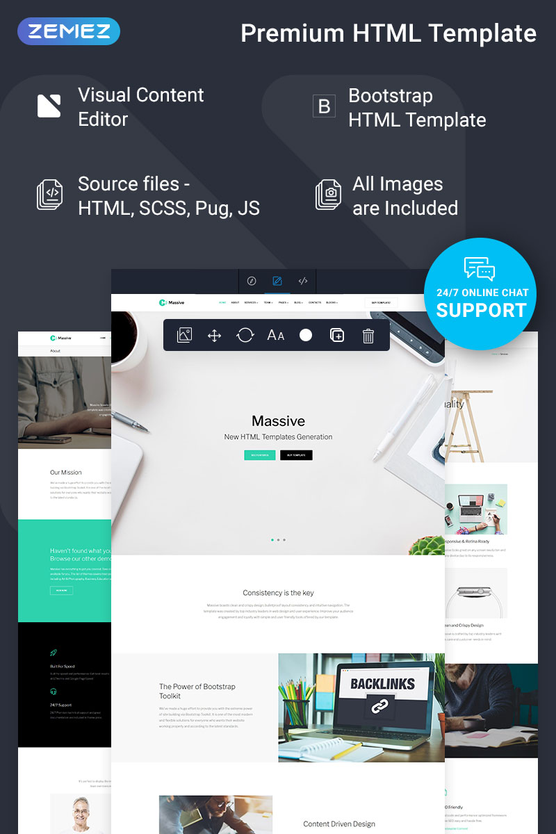 """Massive - Business Ready-To-Use"" Responsive Website template №74362"
