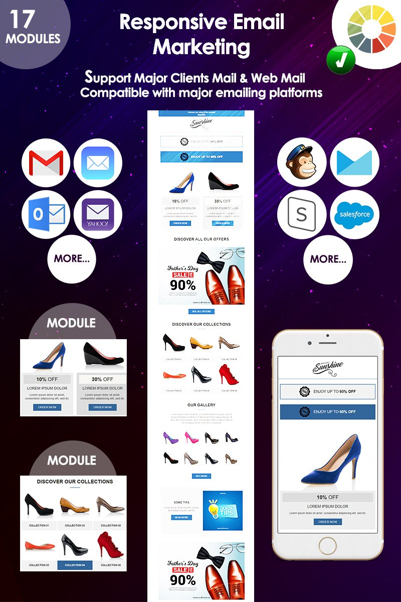 """Modello di Newsletter Responsive #74330 """"Email responsive marketing offers"""""""