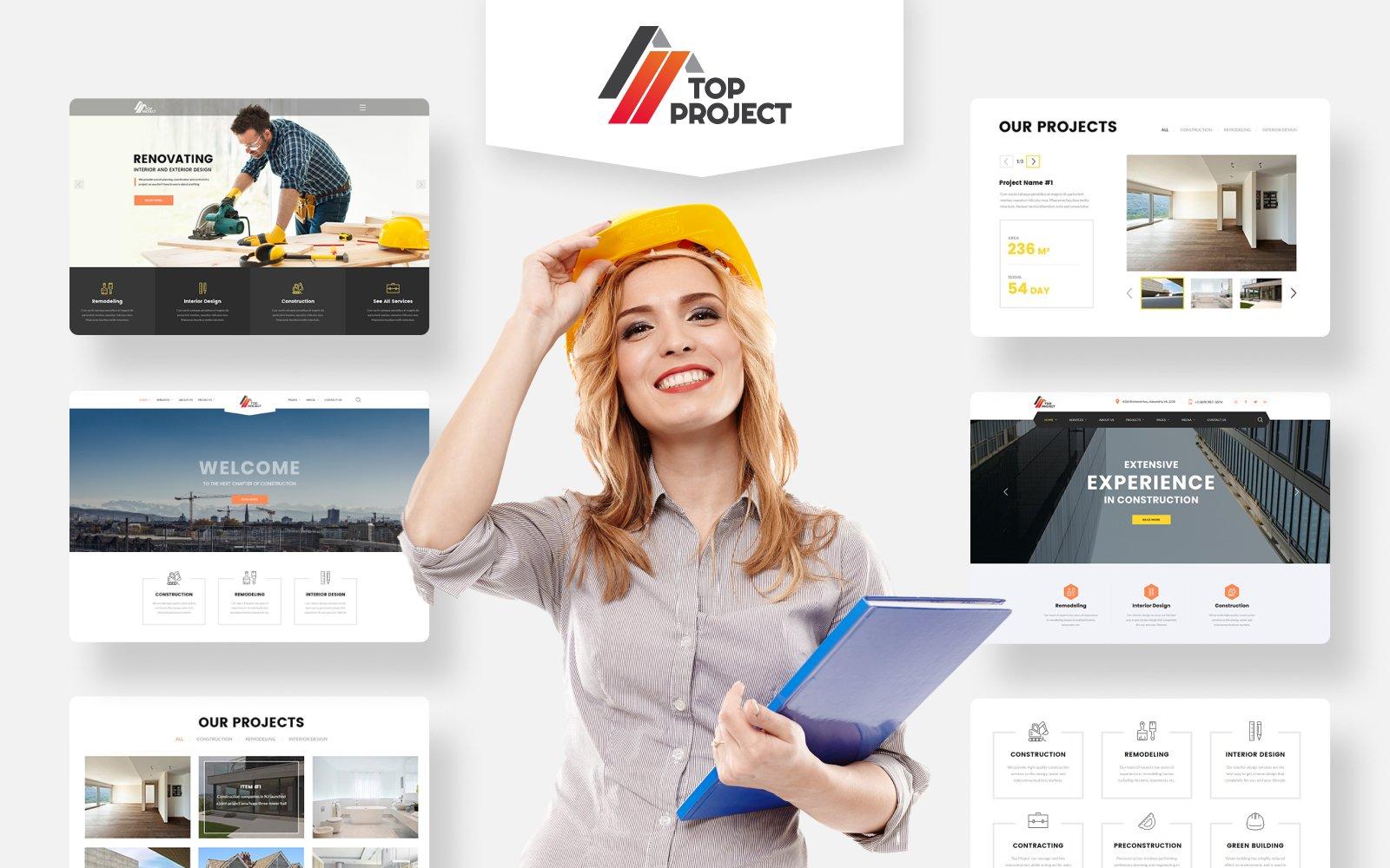 Responsive Top Project - Construction Company Multipurpose HTML Web Sitesi #74319 - Ekran resmi