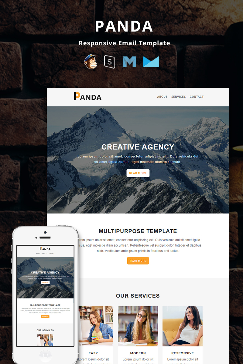 Responsivt Panda - Corporate Responsive Email Newsletter-mall #74382