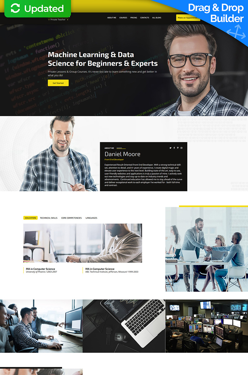 Responsivt Private Teacher Landing Page-mall #74364