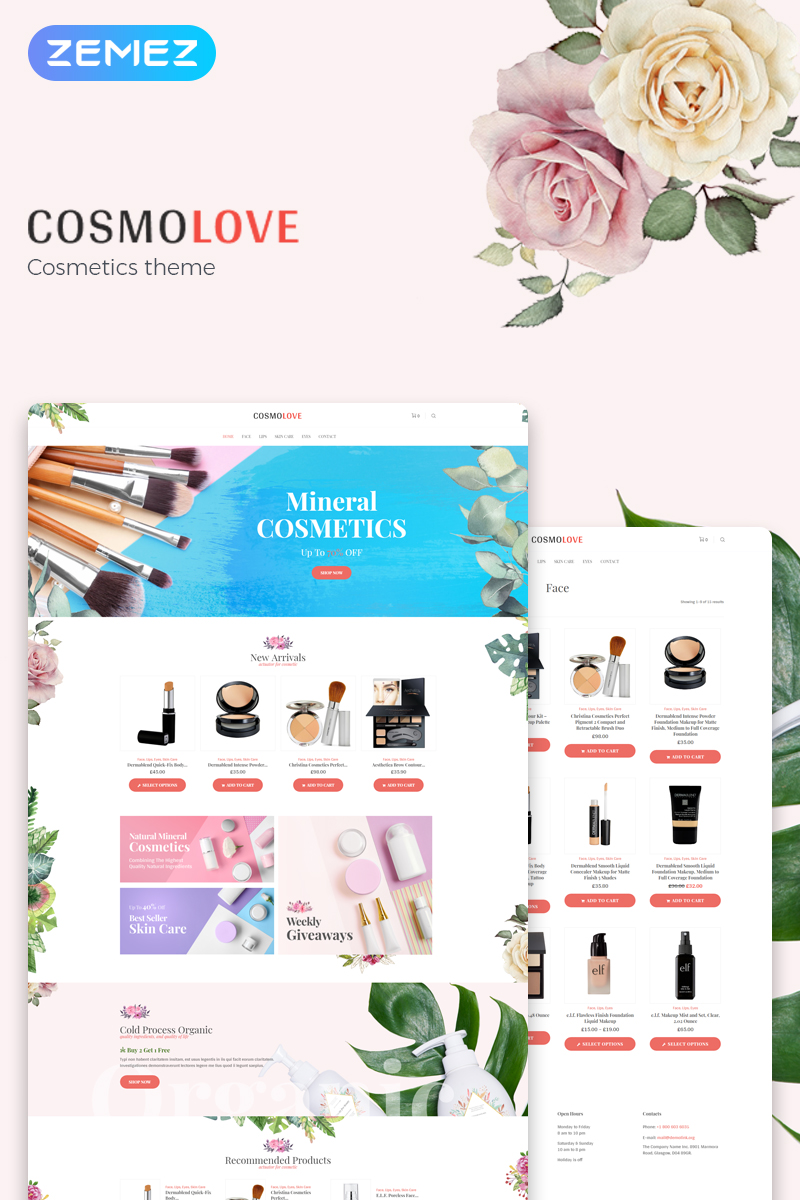 Responsywny motyw WooCommerce Cosmolove - Cosmetics Store Elementor #74328