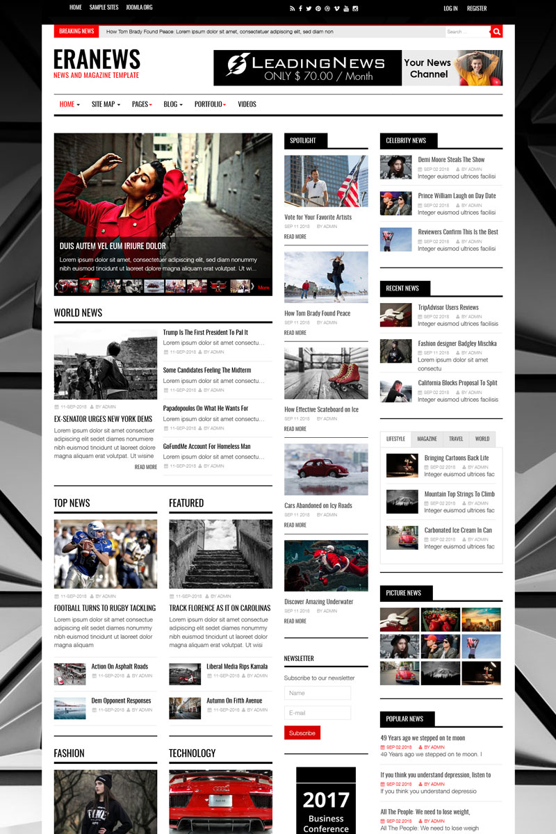 Responsywny szablon Joomla Eranews News and Magazine #74344