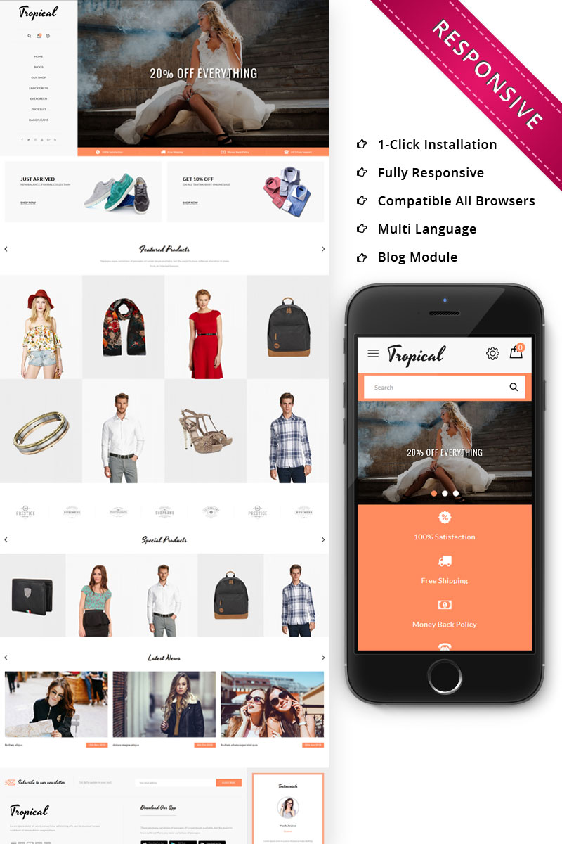Responsywny szablon OpenCart Tropical Fashion Store Responsive #74326 - zrzut ekranu