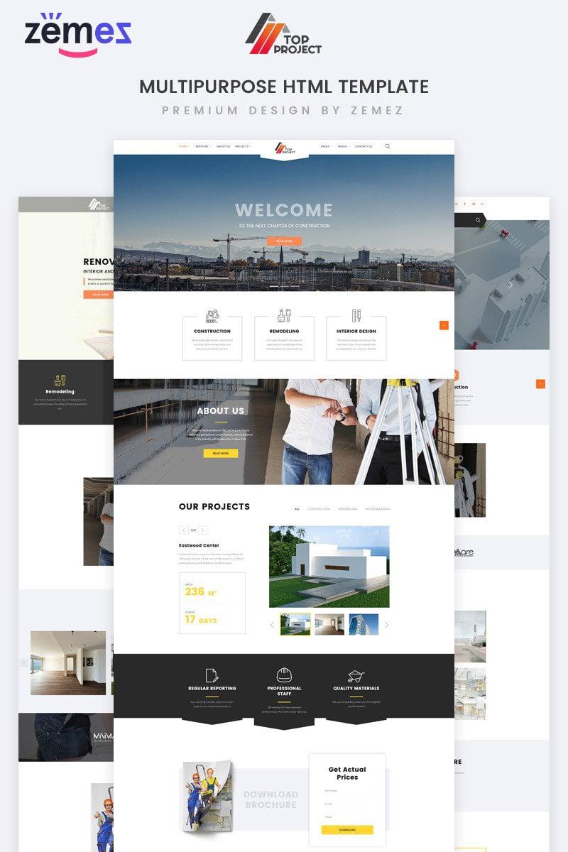 """Responzivní Šablona webových stránek """"Top Project - Construction Company Multipurpose HTML"""" #74319"""