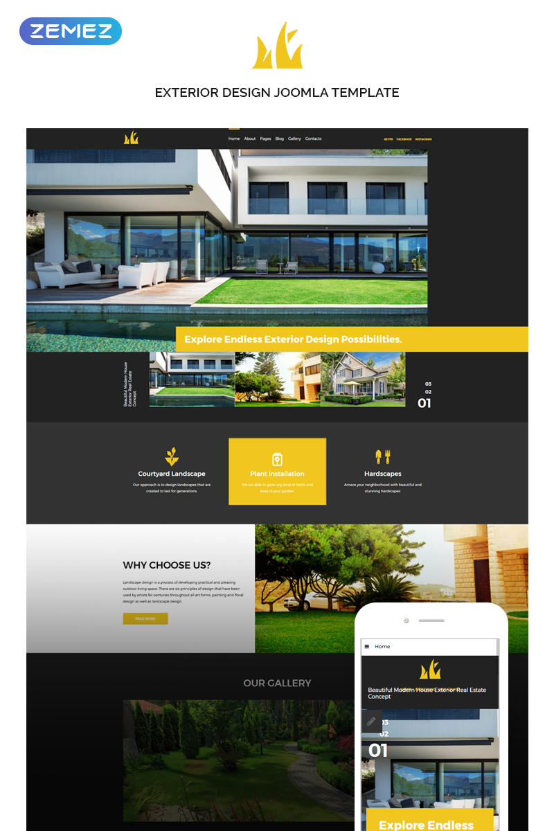 """Sweet Home - Exterior Design"" - адаптивний Joomla шаблон №74355"