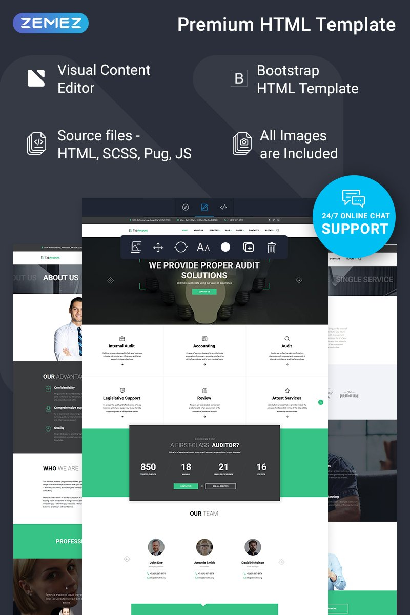 """""""TabAccount - Audit Ready-to-Use"""" Responsive Website template №74320 - screenshot"""