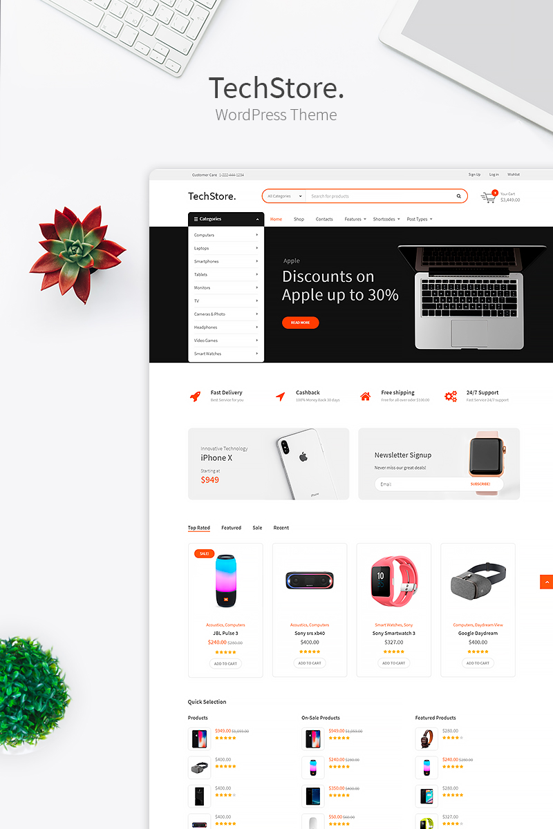 """Tech Store - Device, Mobile & Electronics Store"" - адаптивний WooCommerce шаблон №74336"