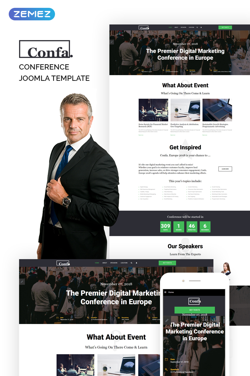 "Template Joomla Responsive #74338 ""Confa - Event"""