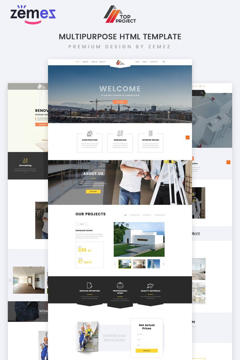"""Top Project - Construction Company Multipurpose HTML"" Responsive Website template №74319"