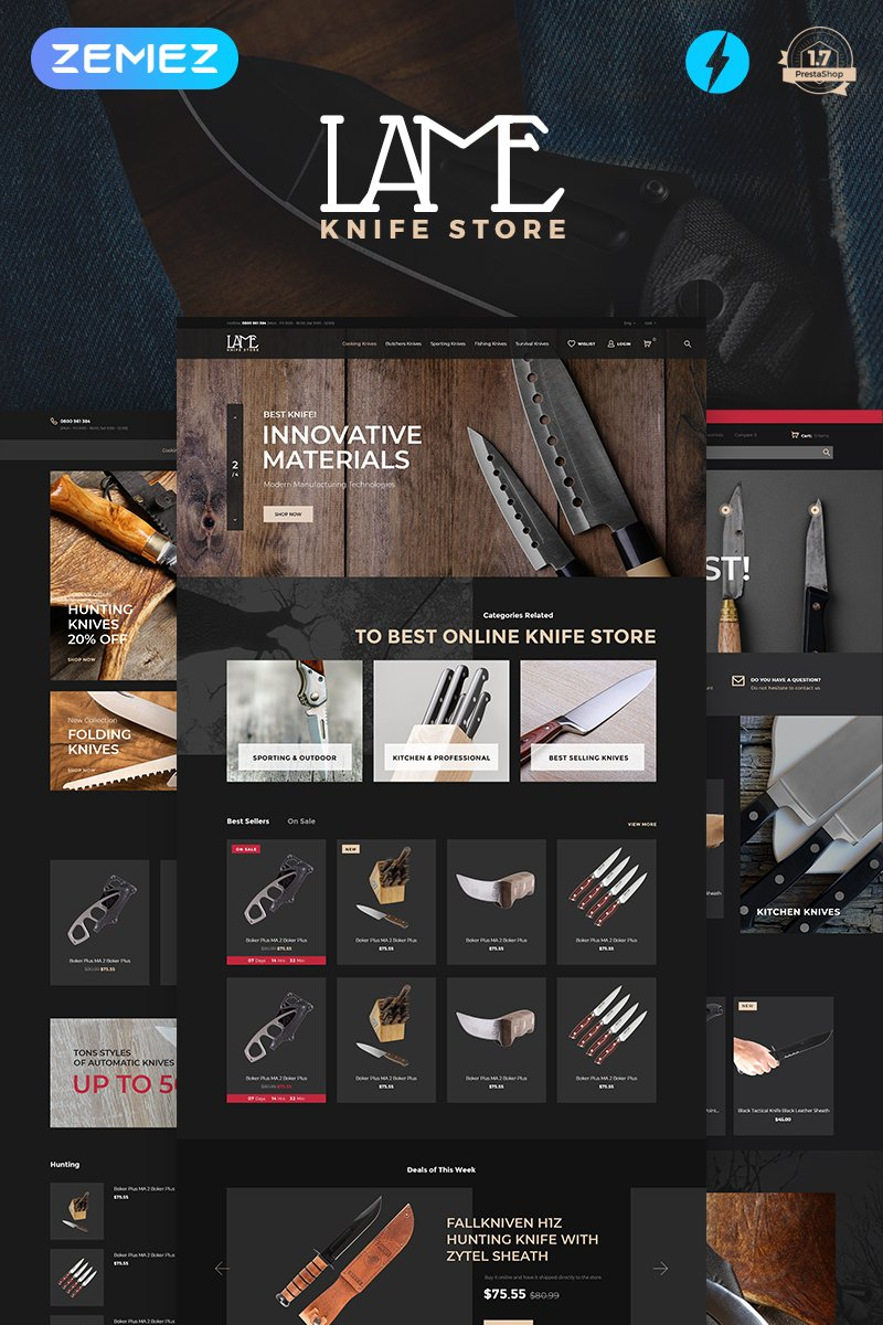 Website Design Template 74460 - knife store knives zemez one