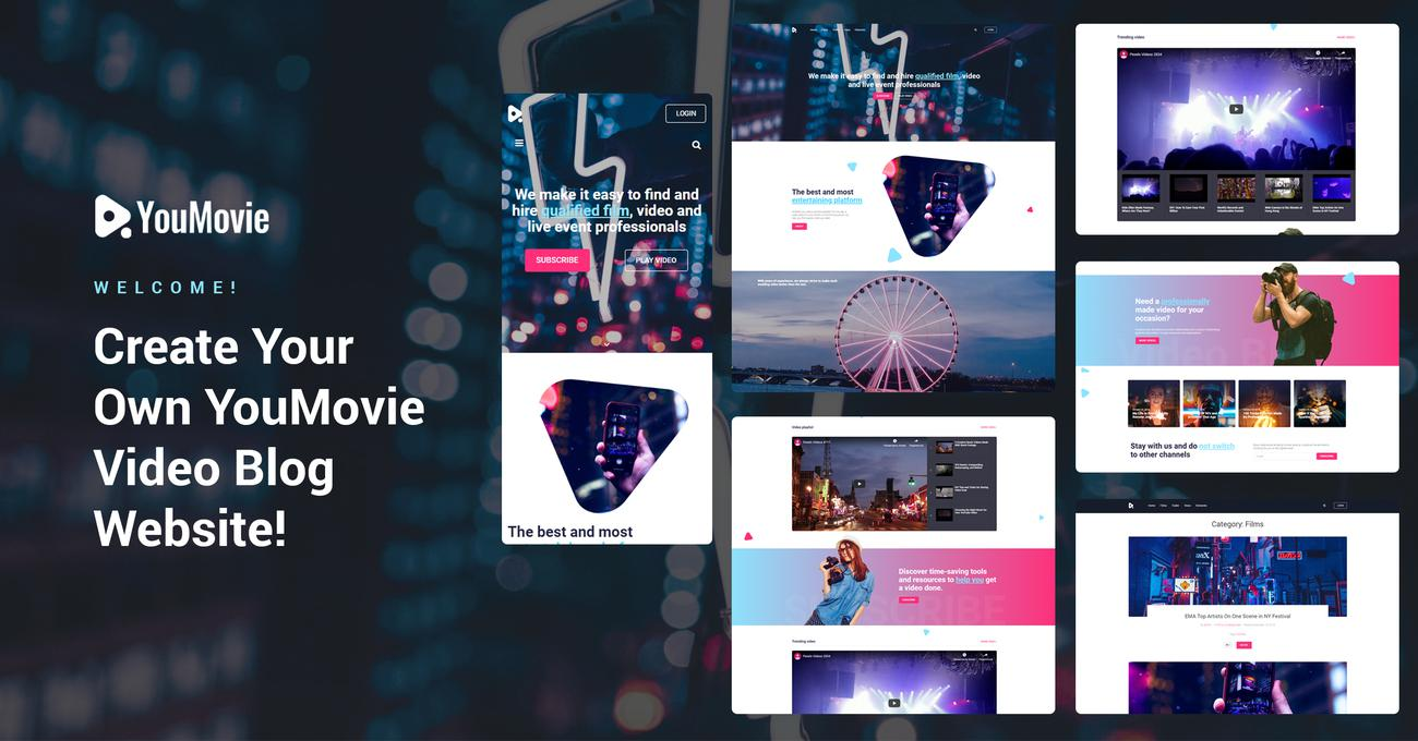 Website Design Template 74483 - professional visual design responsive premium videography blog posts playlist tools channel entertainment film event trailer vine camera operator