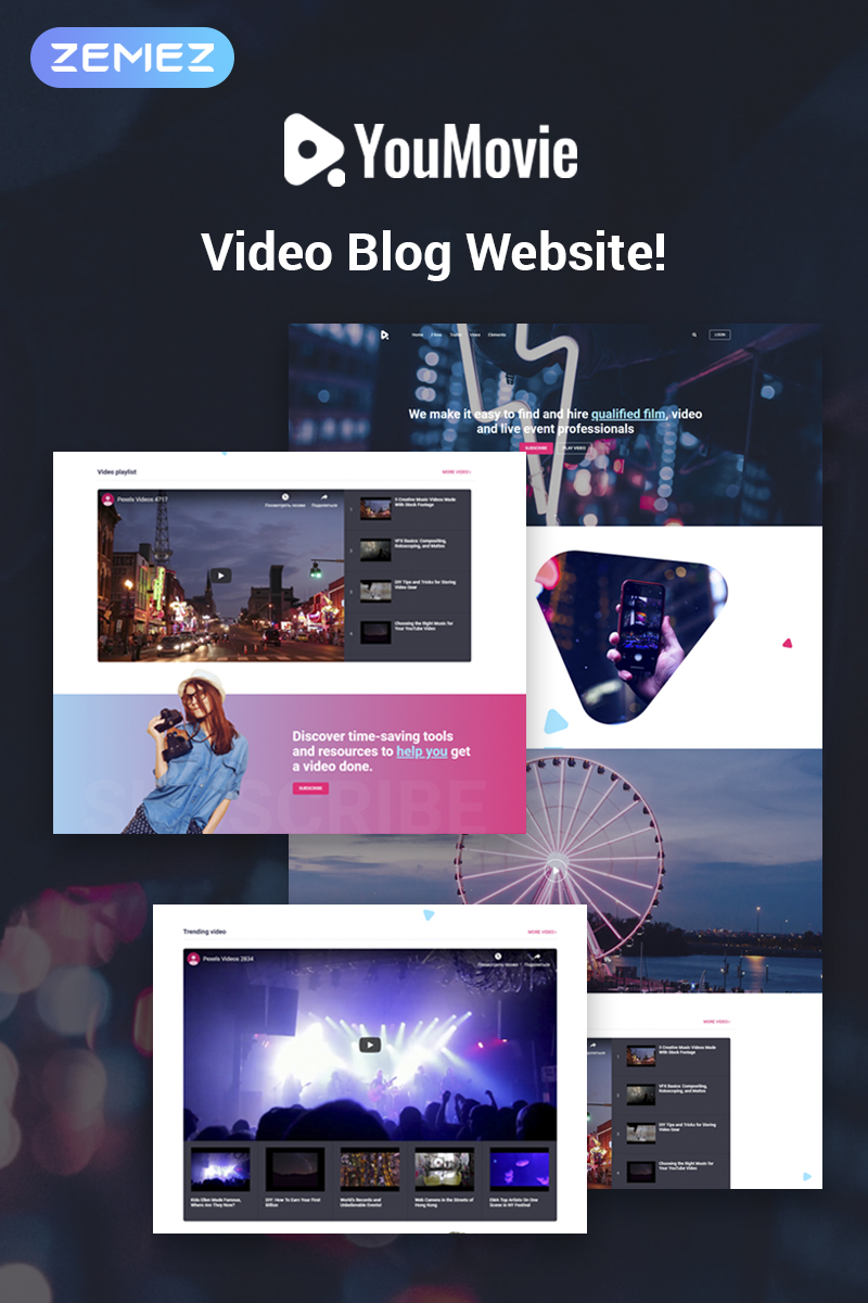 Website Design Template 74483 - videography blog posts playlist tools channel entertainment film event trailer vine camera operator