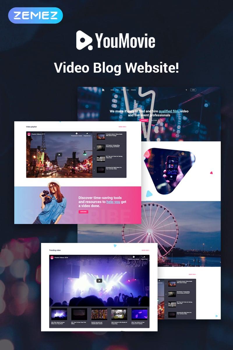 Website Design Template 74483 - movie professional visual design responsive premium videography blog posts playlist tools channel entertainment film event trailer vine camera operator