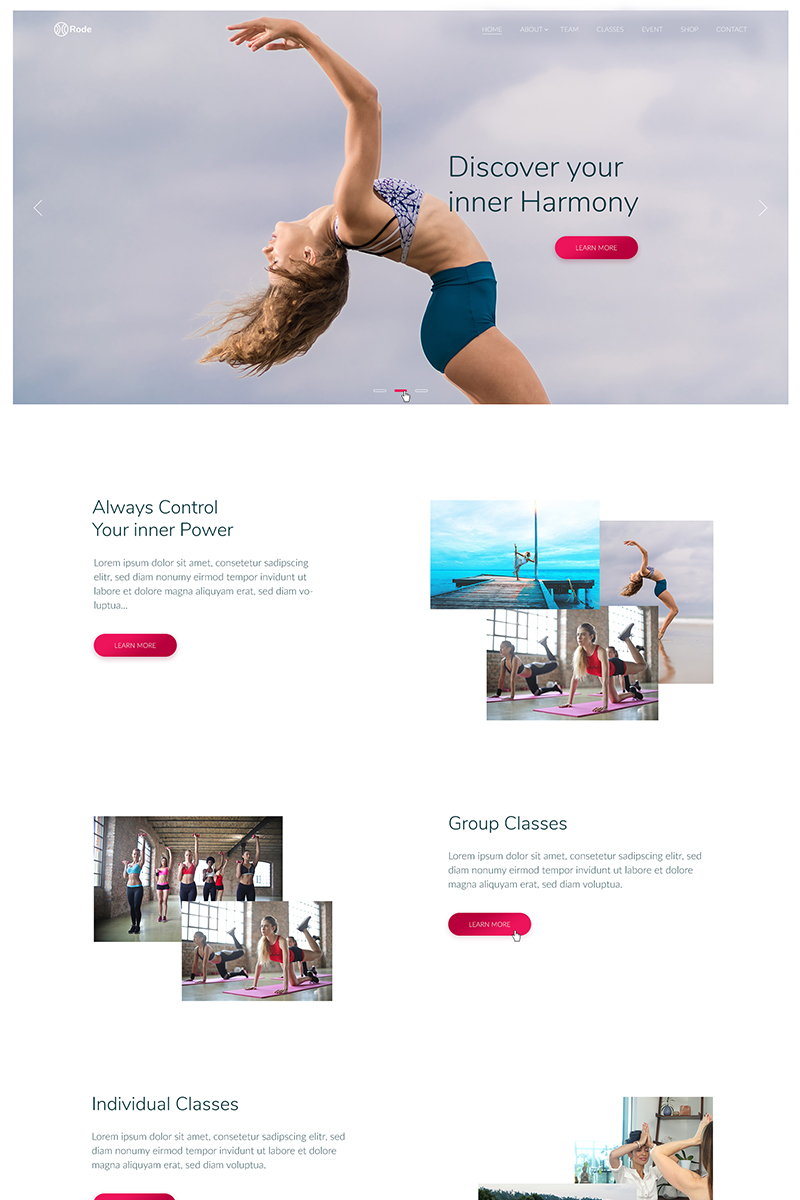 Website Design Template 74489 - yoga classes shedule sport dance studio