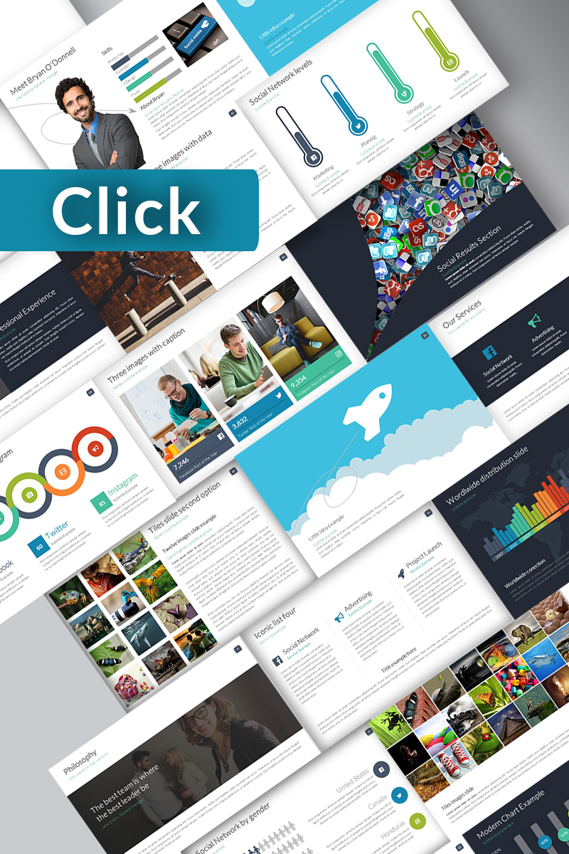 """Click Powerpoint Template"" PowerPoint Template №74407"