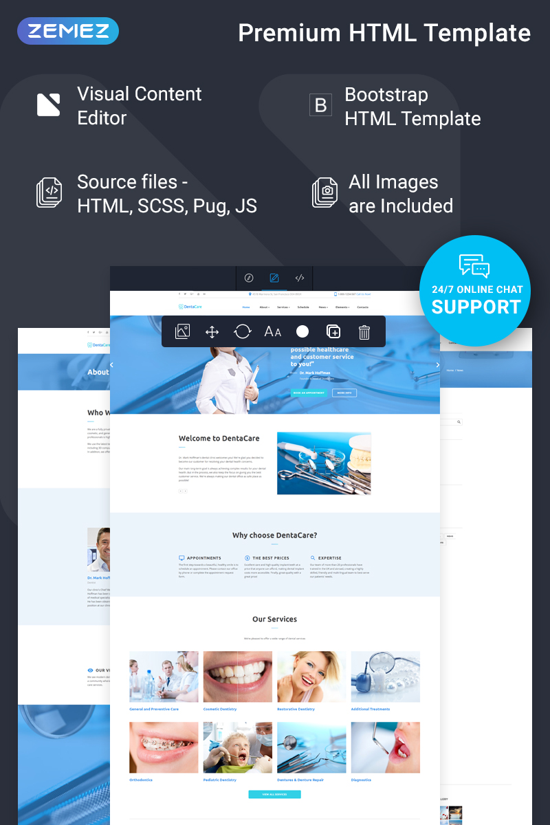 """""""DentaCare - Dental Clinic Ready-To-Use"""" Responsive Website template №74487"""
