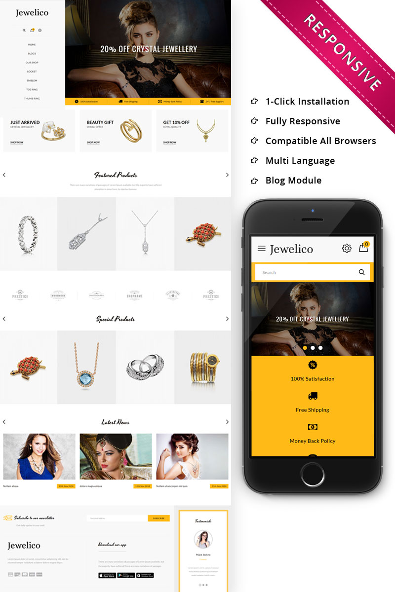 """Jewelico - The Jewelry Store Responsive"" thème OpenCart adaptatif #74479"