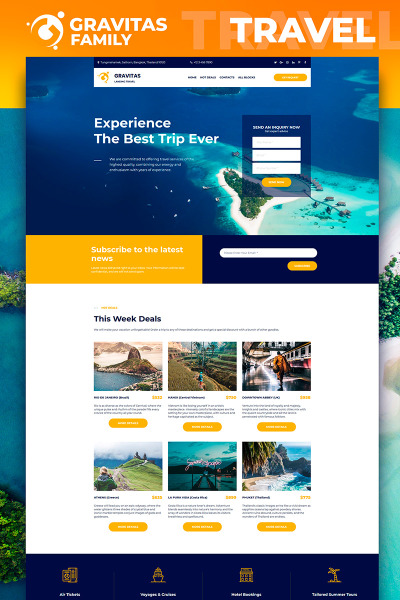 Responsives Landing Page Template für Reisebüro