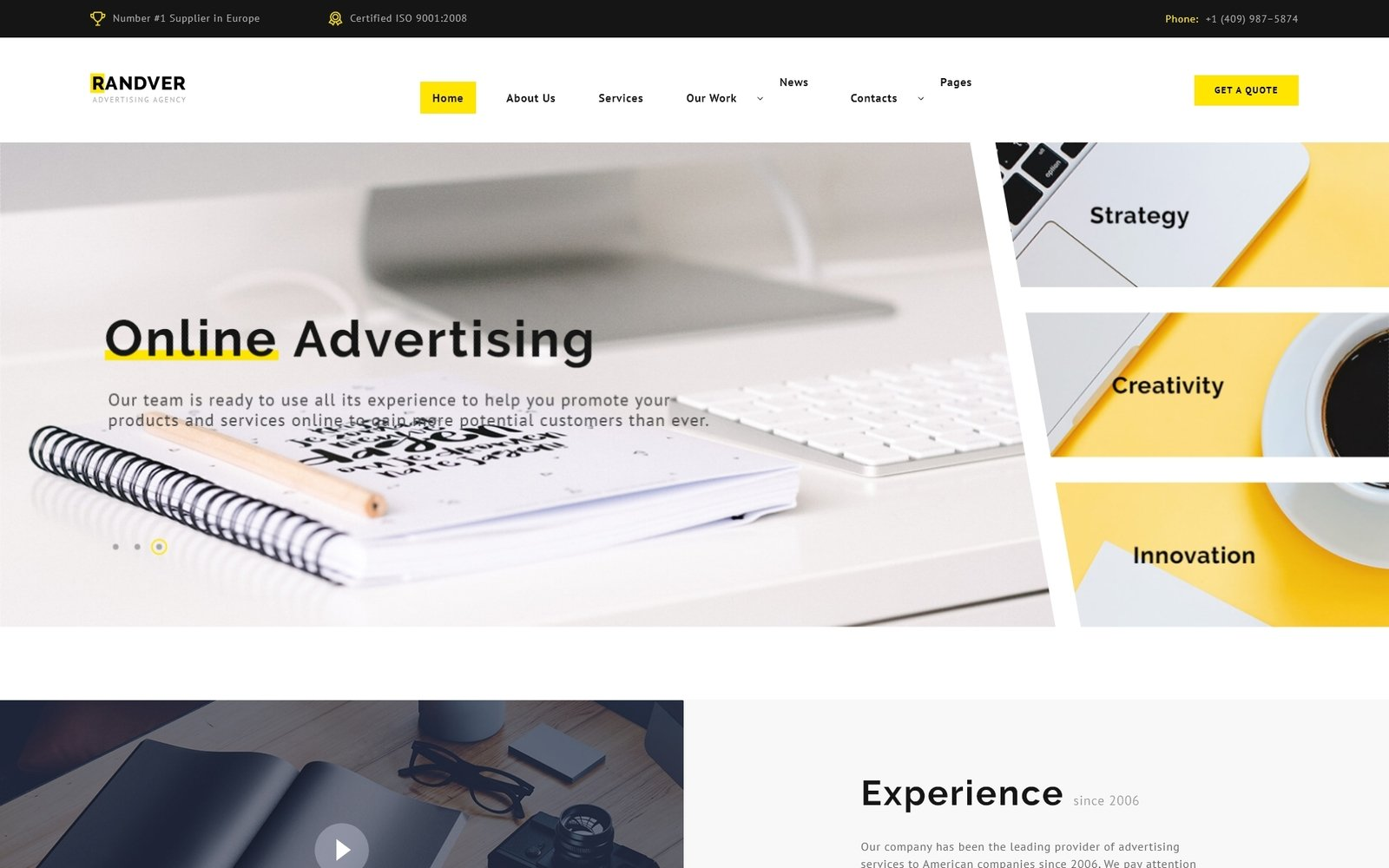 """""""Randver - Advertising Ready-to-Use"""" Responsive Website template №74404"""