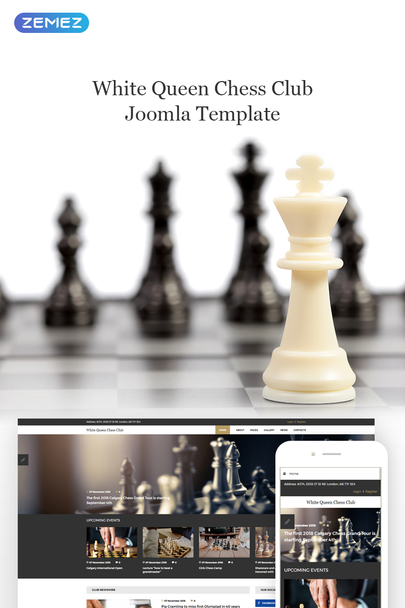 Responsywny szablon Joomla White Queen Chess Club - Chess #74419