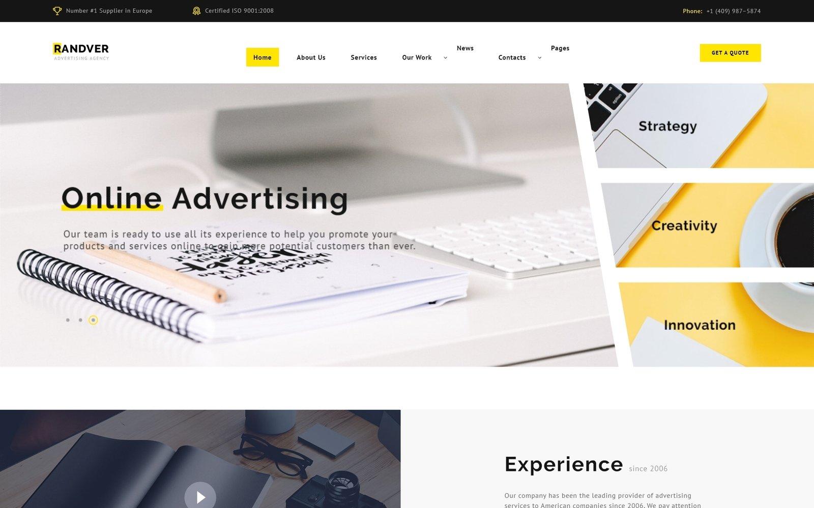 Reszponzív Randver - Advertising Ready-to-Use Weboldal sablon 74404