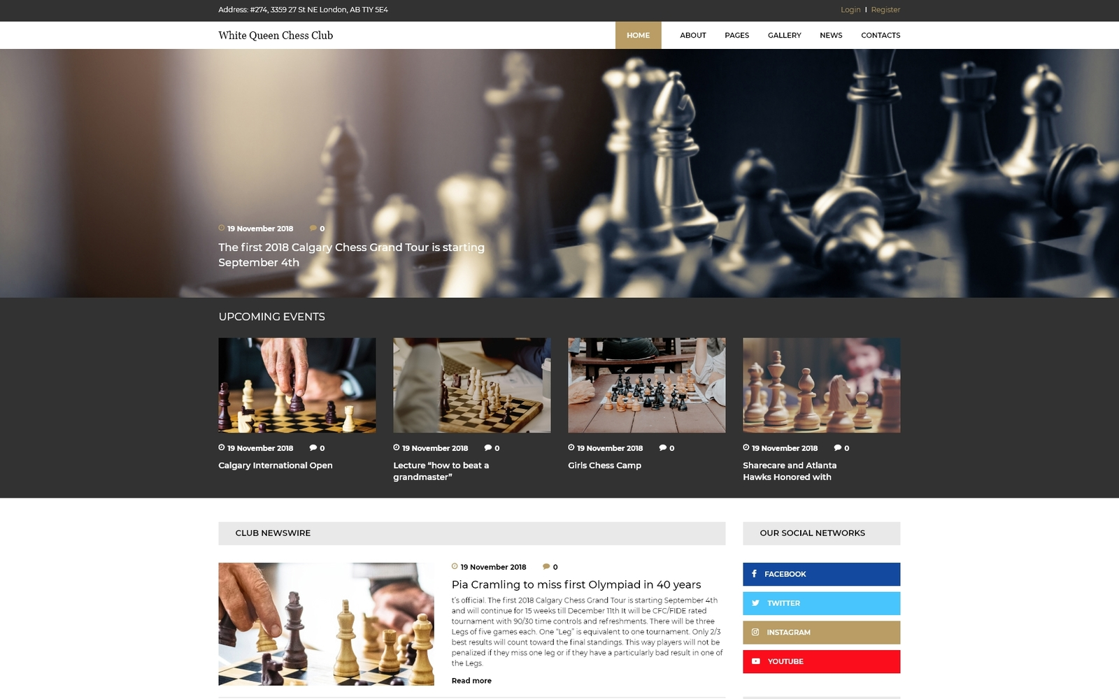 Reszponzív White Queen Chess Club - Chess Joomla sablon 74419