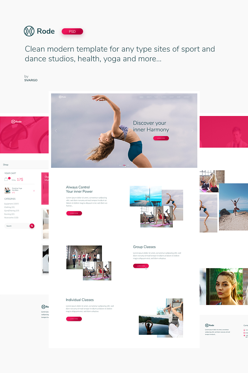 """Rode - Sport and Yoga"" modèle PSD Bootstrap #74456"