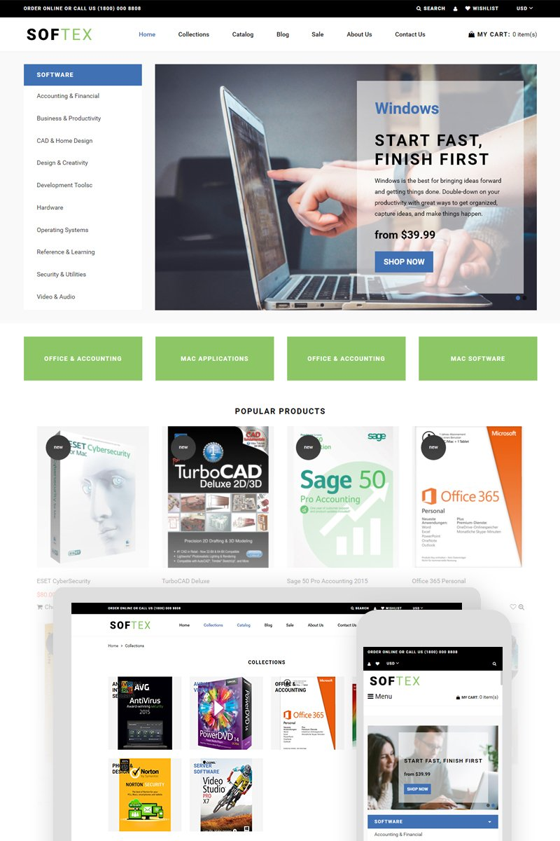 """""""Softex - Software Store"""" Responsive Shopify Thema №74415"""