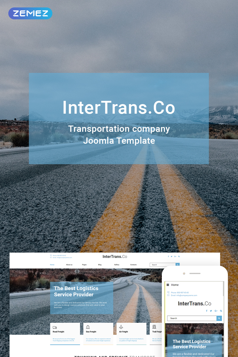 "Tema Joomla Responsive #74418 ""InterTrans.Co - Transportation"""
