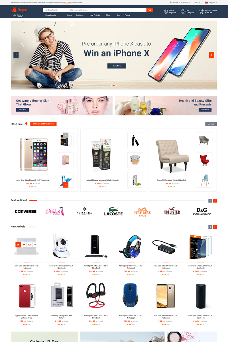 "Tema Magento ""Shopee - Premium Marketplace Responsive"" #74424"
