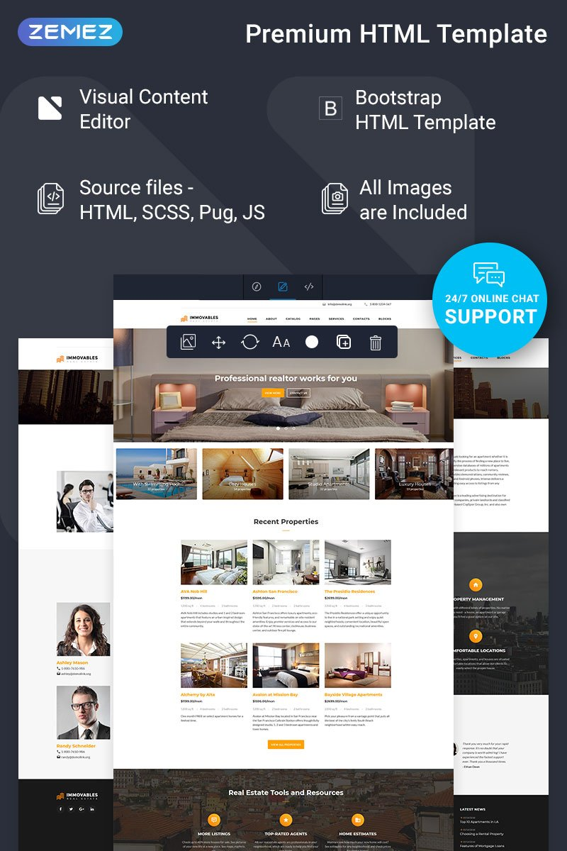 """Tema Siti Web Responsive #74445 """"Immovables - Real Estate Ready-to-Use"""""""