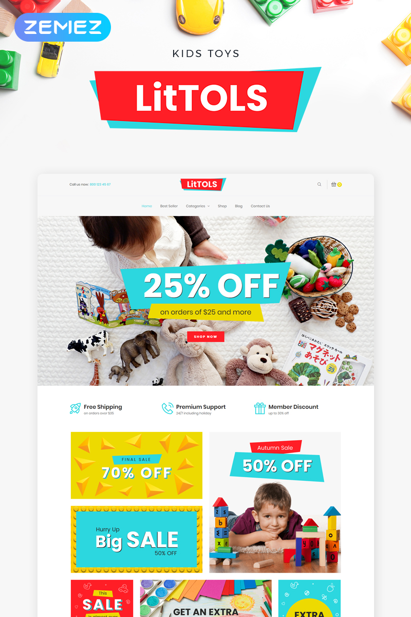 "WooCommerce Theme namens ""LitTOLS - Toys & Games Store Elementor"" #74488"