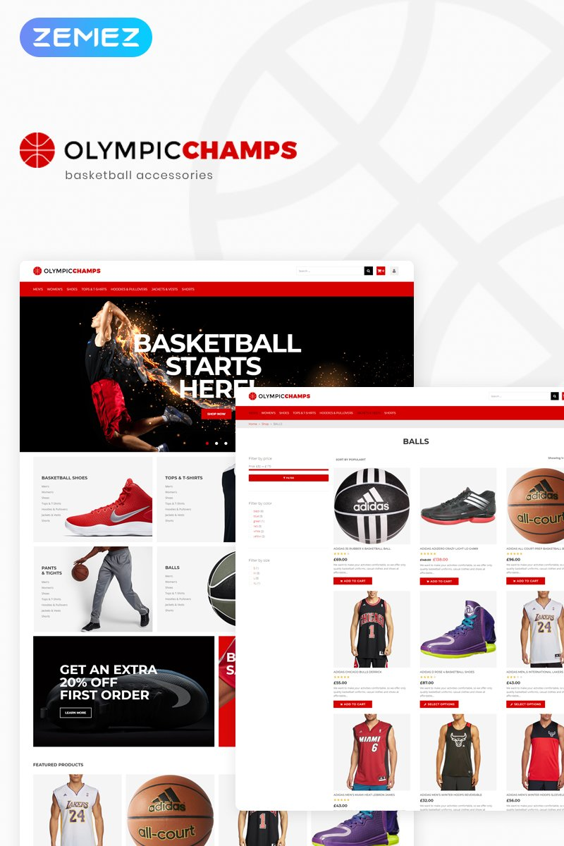 Website Design Template 74509 - basketball stuff products order sale clothes shoes bags responsive premium ecommerce shop store balls design pants shipping newsletter goods