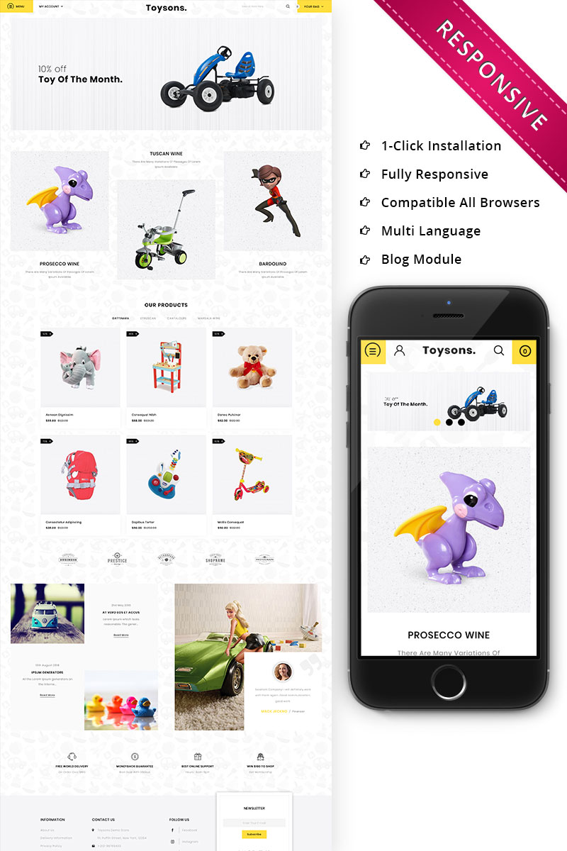 Website Design Template 74520 - playland kidstoy toyshop megastore megashop html css responsive fashion petshop petstore