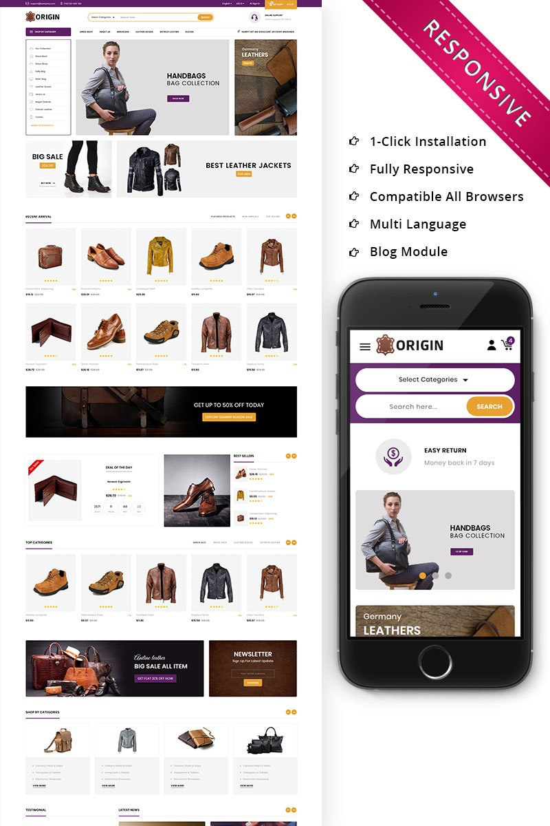 Website Design Template 74529 - electronic automobile tools megastore stores fashion megashop multishop jewelry petshop multipurpose menfashion prestashop responsive leather leatherproduct