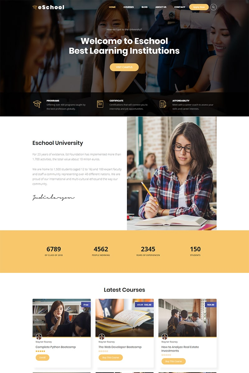 Website Design Template 74533 - education elearning high school kindergarten management system lms wordpress theme training center udemy university