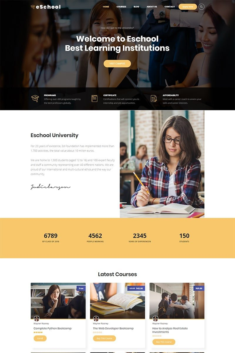 Website Design Template 74533 - college education elearning high school kindergarten management system lms wordpress theme training center udemy university