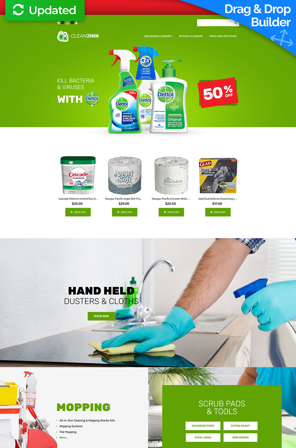 Website Design Template 74597 - cleaner washer